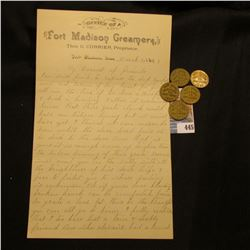 """March 20, 1895 Letter on Stationery from """"Office of Fort Madison Creamery Thos. G. Currier, Propriet"""