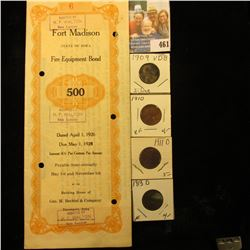 """April 1, 1926 $500 """"State of Iowa City of Fort Madison Fire Equipment Bond"""" with Bond coupons; 1909"""