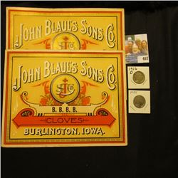 "Pair of Box labels ""John Blaul's Sons Co. B.B.B.B. Cloves Burlington, Iowa.""; 1916 D & 18 S Buffalo"