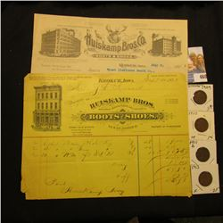 "1885 & 1912 Invoices from ""Huiskamp Bros. Wholesale Manufacturers and Dealers in Boots and Shoes, Ke"