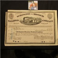 "January 5, 1875 State of Iowa ""Burlington and Missouri Railroad Company"" 9 Shares, hole cancelled an"