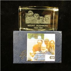 "2"" x 3"" Lead Glass Crystal Hologramed paper weight in original box of issue depicting ""Mount Rushmor"