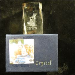 """2"""" x 3"""" Lead Glass Crystal Hologramed paper weight in original box of issue depicting """"Aquarius 01.2"""