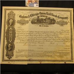 """1860 era Stock Certificate """"Galena & Chicago Union Rail Road Company"""", signed by both President and"""