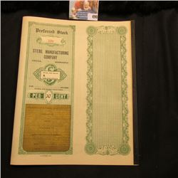 """Early 1900 Unissued Stock Certificate for """"Steril Manufacturing Company""""with two pages of interest c"""