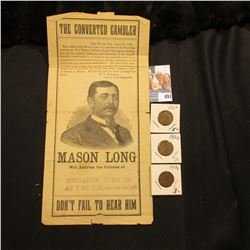 "Flyer for ""The Converted Gambler…Mason Long Will address the Citizens of Defiance June 10 At 730 P,M"