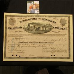 "March 20th, 1874 Stock Certificate for 22 Shares ""Burlington and Missouri River Railroad Company Sta"