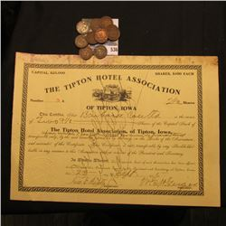 "Sept. 23, 1905 2 1/2 Shares of ""The Tipton Hotel Association of Tipton, Iowa"", Iowa State Seal in up"