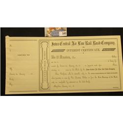 "Pair of attached unissued ""Interest Certificate(s)"" for ""Iowa Central Air Line Rail road Company"" 18"