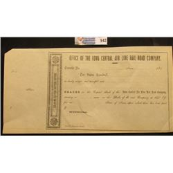 "1850 era ""Office of the Iowa Central Air Line Rail road Company"", unissued transfer certificate."