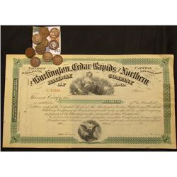 "Unissued Stock Certificate ""The Burlington, Cedar Rapids and Northern Railway Company of Iowa"" vigne"