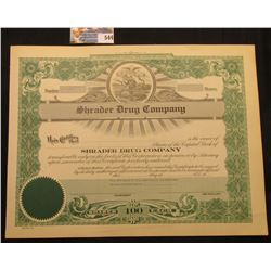 "Unissued Stock Certificate ""Shrader Drug Company/Iowa City, Iowa…Incorporated Under the Laws of Iowa"