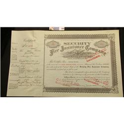 "March 8, 1939 Stock Certificate No. E141 ""Security Fire Insurance Company Davenport, Iowa"", listings"