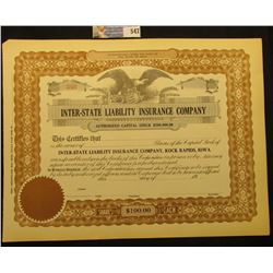 "Unissued Capital Stock Certificate ""Inter-State Liability Insurance Company"", upper central vignette"