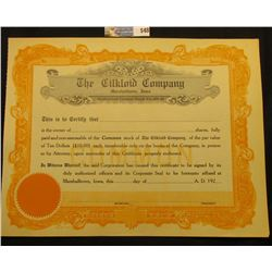 "Unissued Capital Stock Certificate ""The Cilkloid Company Marshalltown, Iowa"",  Early 1920 era."