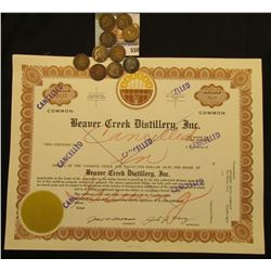 """Cancelled in Issuing"" and stamped ""Cancelled"" seven times ""Beaver Creek Distillery, Inc."", ""Counter"