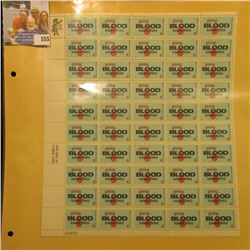 "Mint Sheet of 50 Six Cent Stamps United States Postage ""Giving Blood Saves Lives""; & 1932 Mint Sheet"