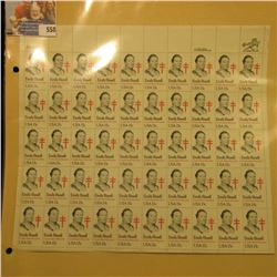 "Sheet of 50 Fifteen Cent Stamps United States Postage ""Emily Bissell Crusader Against Tuberculosis"";"