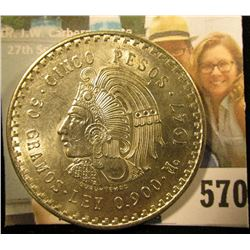 1947 Mexico Silver Cinco 5 Pesos depicting the Aztec Emperor, Cuauhtémoc ~ Ley 0.900 ~ BU ~ UNCIRCUL