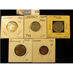 Type Collection of Five-Different Gem BU German Coins. Includes a 1915G Silver One Mark.