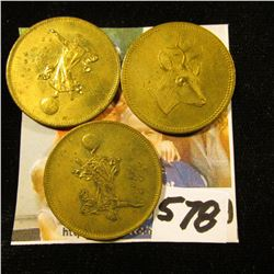 (3) Different German Spiel Markes. Mystical Piece with smiling male obverse and gowned lady standing