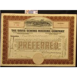 "November 15th, 1921 Certificate for One Share ""The Davis Sewing Machine Company"" Incorporated under"