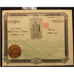 "Stock Certificate Incorporated Under the Laws of the State of Ohio April 2, 1895 for 16 Shares ""The"