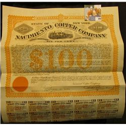 """United States of America State of New York No.151 $100 Nacimiento Copper Company First Mortgage, Go"