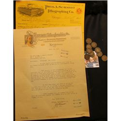"October 30th, 1918 ""Theo. A. Schmidt Lithographing Co. Chicago"" Invoice; 1927 letter on Stationery o"