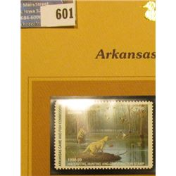1998 Arkansas Waterfowl Hunting and Conservation $7.00 Stamp depicting Mallards, Hunter, and dog. Mi