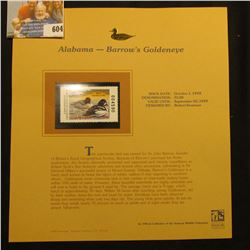 1998 Alabama Waterfowl $5.00 Stamp depicting a pair of Barrow's Goldeneye, Mint, unsigned, in vinyl