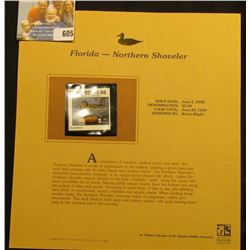 1998 Florida $3.50 Stamp depicting a pair of Northern Shoveler, Mint, unsigned, in vinyl page with l