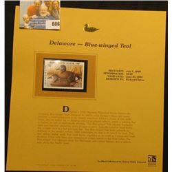 1998 Delaware Waterfowl $6.00 Stamp depicting a pair of Blue-Winged Teal, Mint, unsigned, in vinyl p