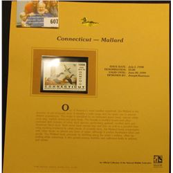 1998 Connecticut Migratory Bird Conservation $5.00 Stamp depicting a flock of Mallards, Mint, unsign