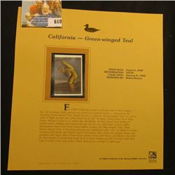 1998 California Waterfowl $10.50 Stamp depicting a male Green-Winged Teal, Mint, unsigned, in vinyl