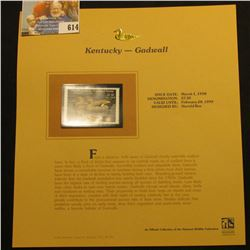1998 Kentucky Migratory Waterfowl $7.50 Stamp depicting a pair of Gadwall, Mint, unsigned, in vinyl