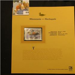1998 Minnesota Waterfowl $5.00 Stamp depicting a pair of Harlequin Ducks, Mint, unsigned, in vinyl p