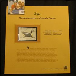 1998 Massachusetts Waterfowl $5.00 Stamp depicting a Canada Goose Decoy, Mint, unsigned, in vinyl pa
