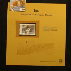 1998 Maryland Waterfowl $6.00 Stamp depicting a pair of Northern Pintail, Mint, unsigned, in vinyl p