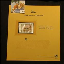 1998 Montana Waterfowl $5.00 Stamp depicting a pair of Gadwall, Mint, unsigned, in vinyl page with l