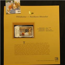1998 Oklahoma Waterfowl Hunting $4.00 Stamp depicting a pair of Northern Shoveler, Mint, unsigned, i