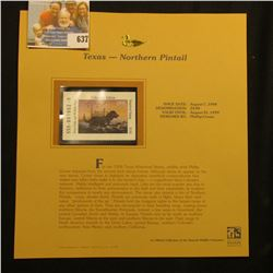 1998 Texas Waterfowl Collector's Edition $3.00 Stamp depicting a flock of Northern Pintail Ducks, Mi