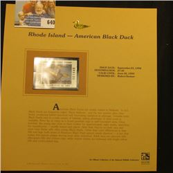 1998 Rhode Island Waterfowl $7.50 Stamp depicting a pair of American Black Ducks, Mint, unsigned, in