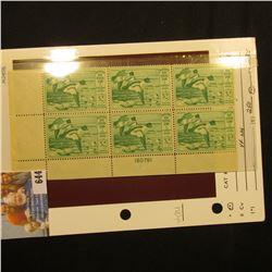 1949 RW16 Plateblock of Six U.S. Federal Migratory Waterfowl $2 Stamps, VF, NH, originally sold by S