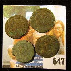 (4) Ancient Roman coins, most likely Constantius. Over 1,500 years old.