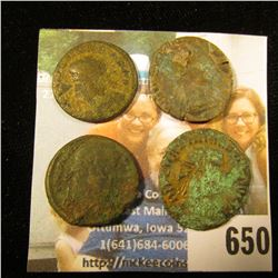 (4) Ancient Roman coins, various Roman Emperors. Over 1,500 years old. All from the same hoard which