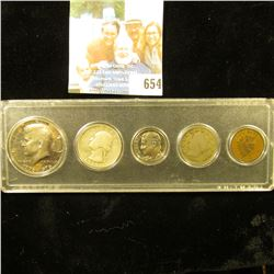 Five-Piece Type Set of U.S. Coins in a Snaptite case, includes 1896 Indian Cent, 1912 D Liberty Nick