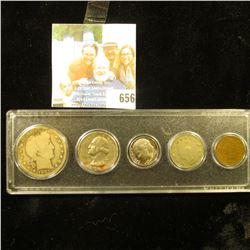 Five-Piece Type Set of U.S. Coins in a Snaptite case, includes 1905 VG Indian Cent, 1909 Liberty Nic