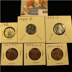 1943 P, D, S World War II Emergency U.S. Steel Cent Set & 1949 P, D, & S Cent Set, all high grades.