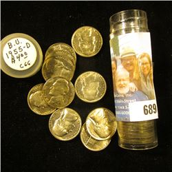 1955 D Original Gem BU Roll of Jefferson Nickels in a plastic tube.